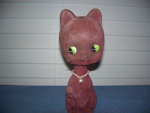 "Vintage Bobble Head Cat Flocked Felt Fur Coin Bank 8"""