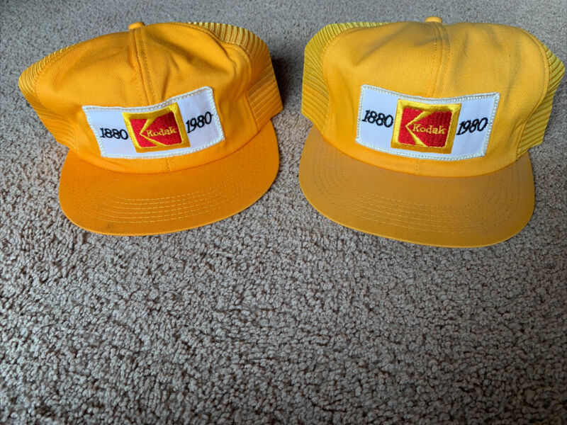 Pair Of Vintage 80s Kodak Snapback Hat Mesh K Brand Patch USA Trucker 1880-1980