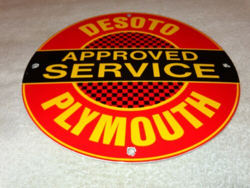 "VINTAGE DESOTO PLYMOUTH CAR TRUCK SERVICE 11 3/4"" PORCELAIN METAL GAS & OIL SIGN"
