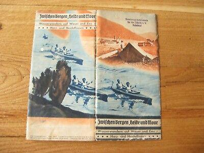altes Prospekt Wasserwandern auf Weser und Ems Harz und Heideflüssen von 1936