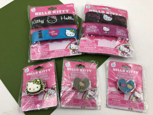 HELLO KITTY Sanrio 5 Stretch Rings & 4 Rubber Bracelets NEW Jewelry Lot