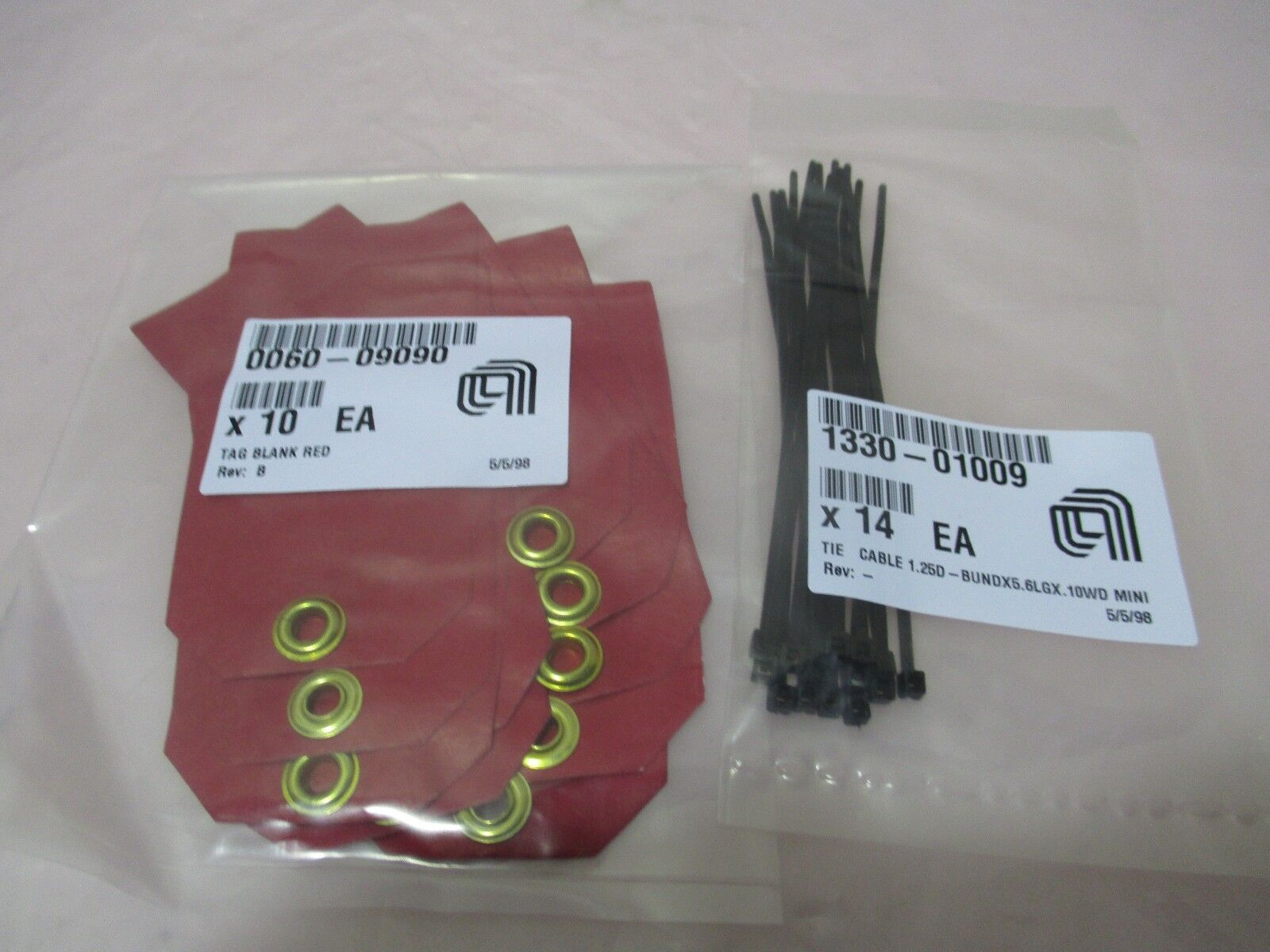 10 AMAT 0060-09090 Tag Blank Red & 14 AMAT 1330-01009 Tie Cable 421053