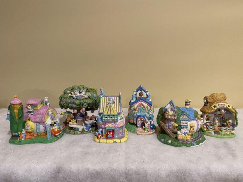 Vintage Easter Village Houses--6 porcelain houses, figures, 2 electrical cords