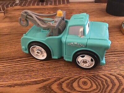 Disney Pixar Cars Mater Shake N Go Retro Blue Tow Truck Fisher Price 2005 Sounds