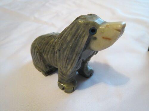 Peruvian Hand carved Soapstone Gray Puppy DOG sitting Figurine