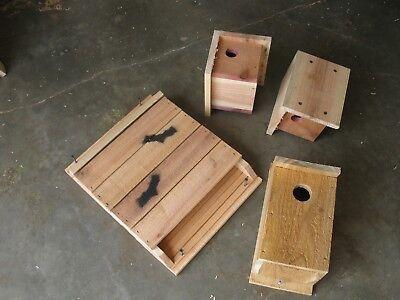 1 Bat Nesting Box 1 Bluebird Nesting Box 2 Wren Houses All Natural Red Cedar