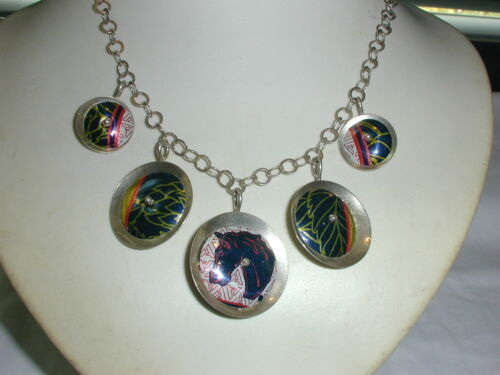 VINTAGE UNIQUE STERLING SILVER NECKLACE W/ 5 ENAMELED DANGLES- A HORSE!