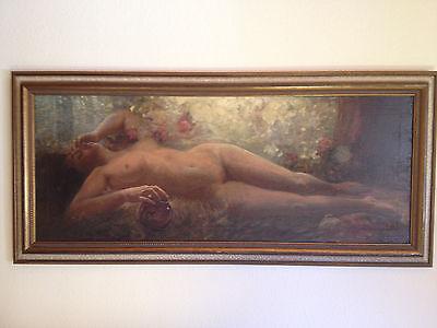 Eduard Büchler (1861 - 1958) Ölgemälde - Liegender weiblicher Akt (1929)