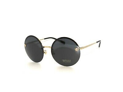Versace 2176 125287 Pale Gold Gray Round Rimless  Sunglasses
