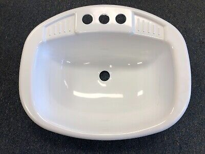 """Mobile Home/RV 20"""" x 16"""" White Round Plastic Lavatory Sink with CO Plug"""