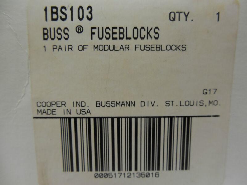 BUSSMANN, 1BS103, Modular fuse block 1pair/bx
