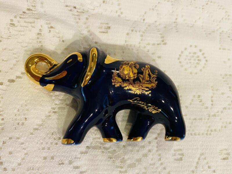 Limoges France Mini Elephant Cobalt Blue Trunk Up 22 Carat Gold