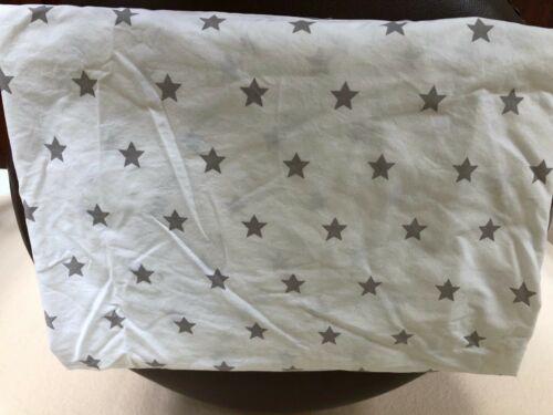 Pottery Barn Kids Crisp Organic Cotton Fitted Crib Sheet Gray Stars EUC