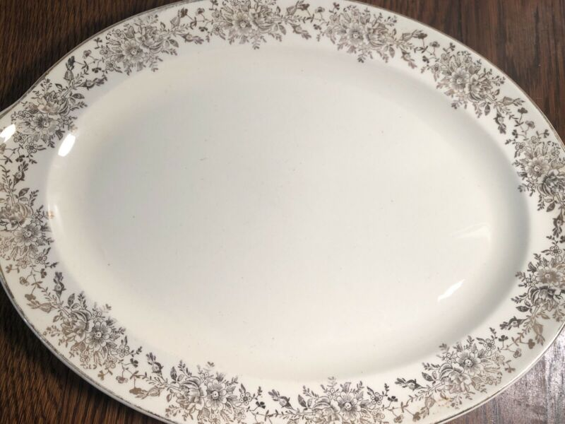 "Vintage Taylor Smith & Taylor Gold Floral Pattern 13"" China Platter"