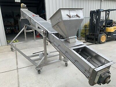 12 X 20 Ft Screw Auger Conveyor Stainless Steel Adjustable Height Portable
