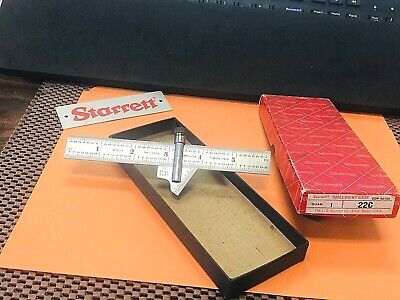 Starrett No.22-c 59 Degree Drill Point Gage With No.603r Tempered Steel Ruler
