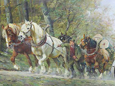 Ölbild Ölgemälde Gemälde Pferdefuhrwerk signiert Wilhelm Westerop