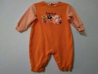 Baby's First Boo Halloween Long Sleeve One-piece Outfit Ghost Pumpkin Size 3-6m