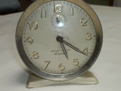 VINTAGE approx. 4-1/2 HIGH WESTCLOX MADE IN USA WIND UP ALARM CLOCK