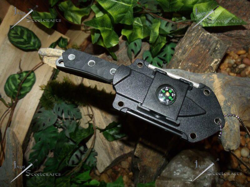 Neck Knife/Blade/Compass/Mirror/Flint/Sharpener/Full tang/Survival Kit/Combat