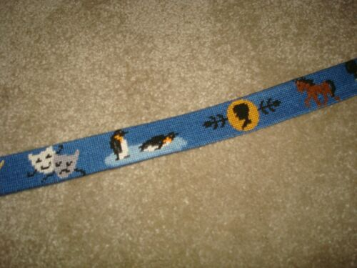 Smathers and Branson Needlepoint Belt L Large Boys Custom Mickey Dog Penguin 28