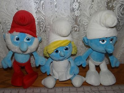 The Smurfs Papa Smurf Stuffed Teddy Doll  Soft Plush Toy Set Of 3 12""