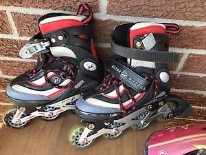 Rollerblades with knee and elbow pads
