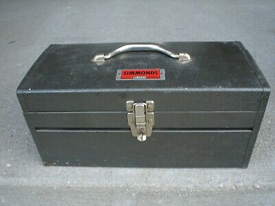 Vintage Simmonds Model 50051 Heavy Duty Metal Tool Box W Lift Out Tray Lockable