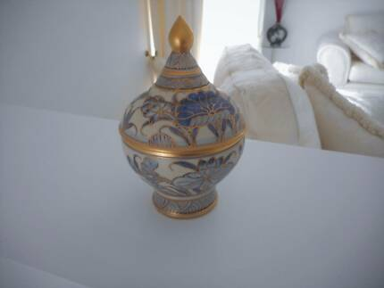 Blue Gold Hand Painted Benjarong Thailand Ceramic Container w Lid