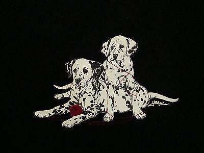 Vintage Dalmatian Puppies Dog Lover Cute Baby Animals Yarn 90's Black T Shirt L