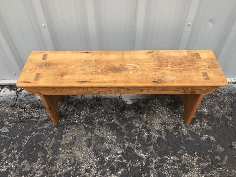 """Antique Scrubbed Pine Bench 17"""" X 44"""" X 11 1/2"""""""