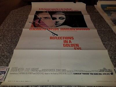 ORIGINAL MOVIE POSTER REFLECTIONS IN A GOLDEN EYE 1 SHEET FOLDED 1967