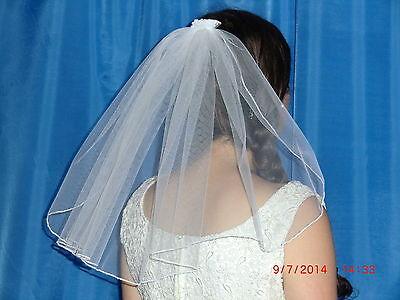 Schöner kurzer  Brautschleier ca 38 cm lang weiß Schleier  Tüll  neu 3,99 €