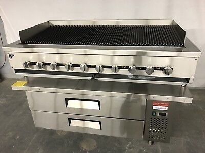 60 Chef Base Refrigerator 60 Gas Char Broiler Heavy Duty Grill New