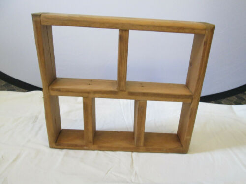 """Wood Hanging Wall Shelf 13 1/2"""" x 12"""" Hand Crafted 5 Openings"""