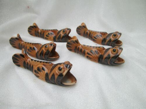 Vintage Chop Stick Holders Set of 5 fish pottery signed in wood box