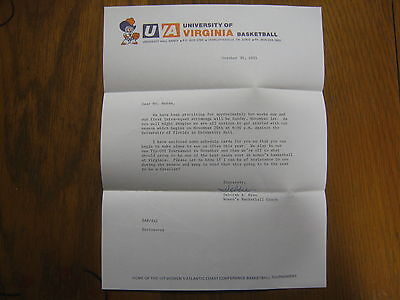 DEBBIE  RYAN  Signed 1981 Personal Letter Virginia Women's Basketball Head Coach