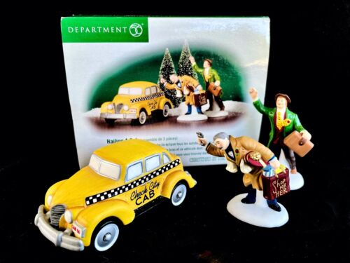 Dept. 56 Christmas in the City Hailing a Cab 3 pc. set in Original Box ©2002