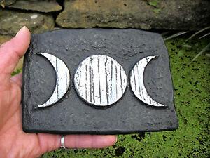 Triple Moon Goddess Altar Tile 15cm x 9.5cm Handmade  Wicca Pagan Wiccan Plaque