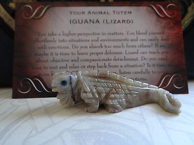 *IGUANA* Lizard Carved Stone Figurine Totem Wiccan Pagan Familiar Metaphysical