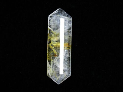 Natural Gold Rutilated Quartz Large Pencil Shape Faceted Cabochon Gold Wire Gems