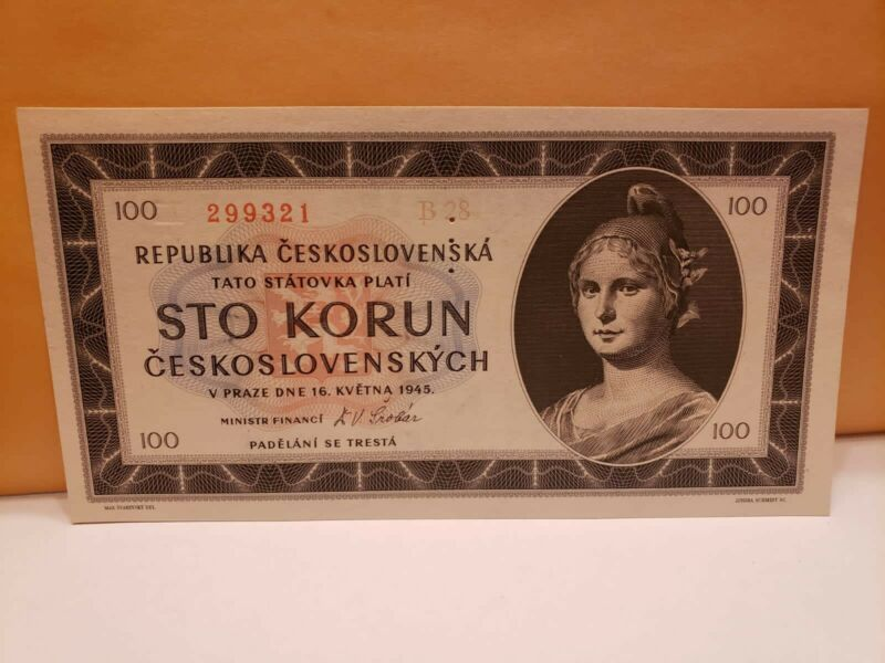 CZECHOSLOVAKIA 100 Korun 1945 (PH) UNC  Different SN