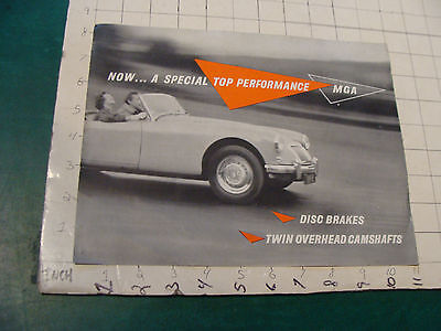 vintage Original auto dealership item: MGA MG pamphlet 1958 i show hole thing