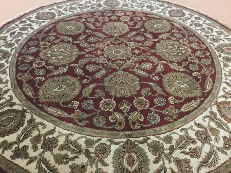 6 X 6 Red Round Agra Persian Oriental Area Rug Hand Knotted Wool Floral Foyer