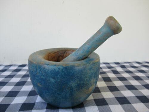 Vintage Mortar & Pestle Burl Wood Apothecary Drug Medicine Blue Paint Primitive