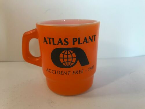 Vintage Anchor Hocking Fire Coffee Cup Mug Handle Advertising Atlas Plant 1981
