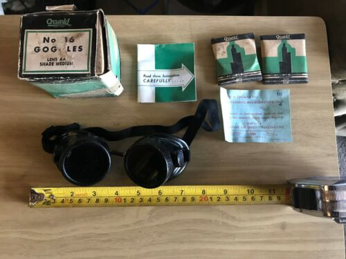 Vintage NOS Oxweld Welding Goggles No. 16 Lenses Steampunk Motorcycle Safety