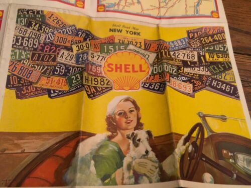 1933 SHELL GAS STATION NEW YORK ROAD MAP