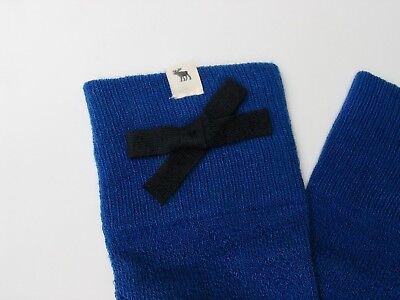 Originalware Abercrombie&Fitch Ajour Blau Knielange Stiefel Strick Socken Neu