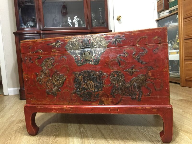 """Old Antique Chinese Original Red Lacquer Wooden Chest 28"""" Wide 20"""" High 17"""" Deep"""